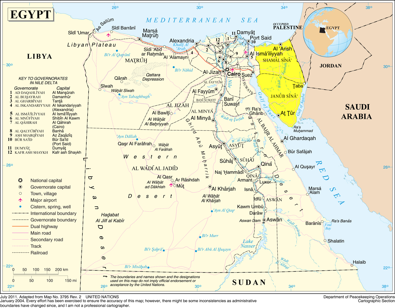 north africa map sinai peninsula