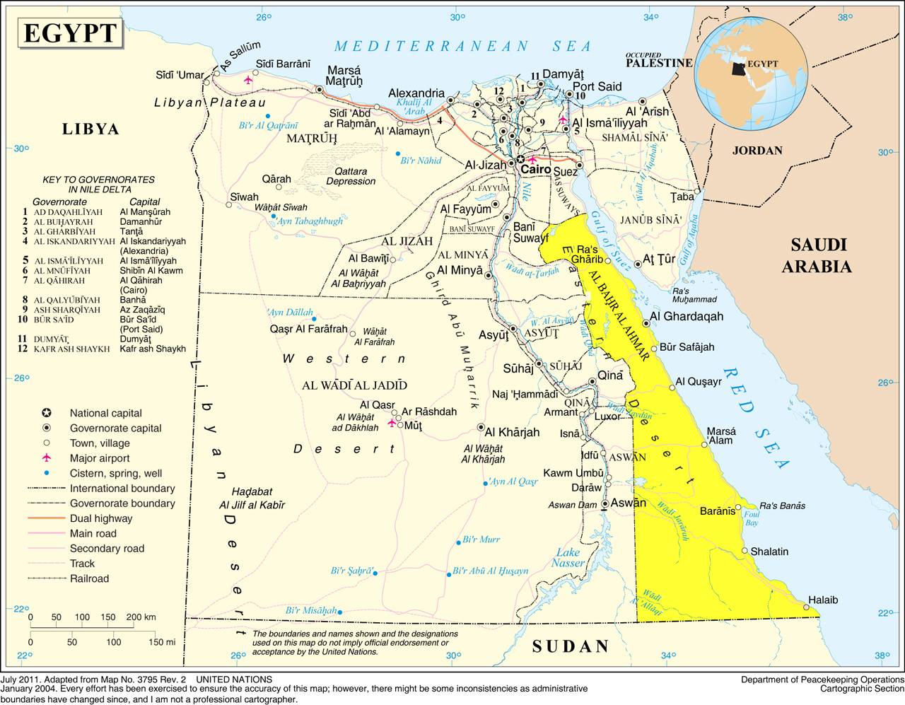 The Red Sea Eastern Desert - Map of egypt mountains