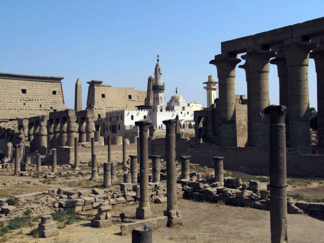 The Luxor Temple with the Mosque that was built within its walls, Luxor.