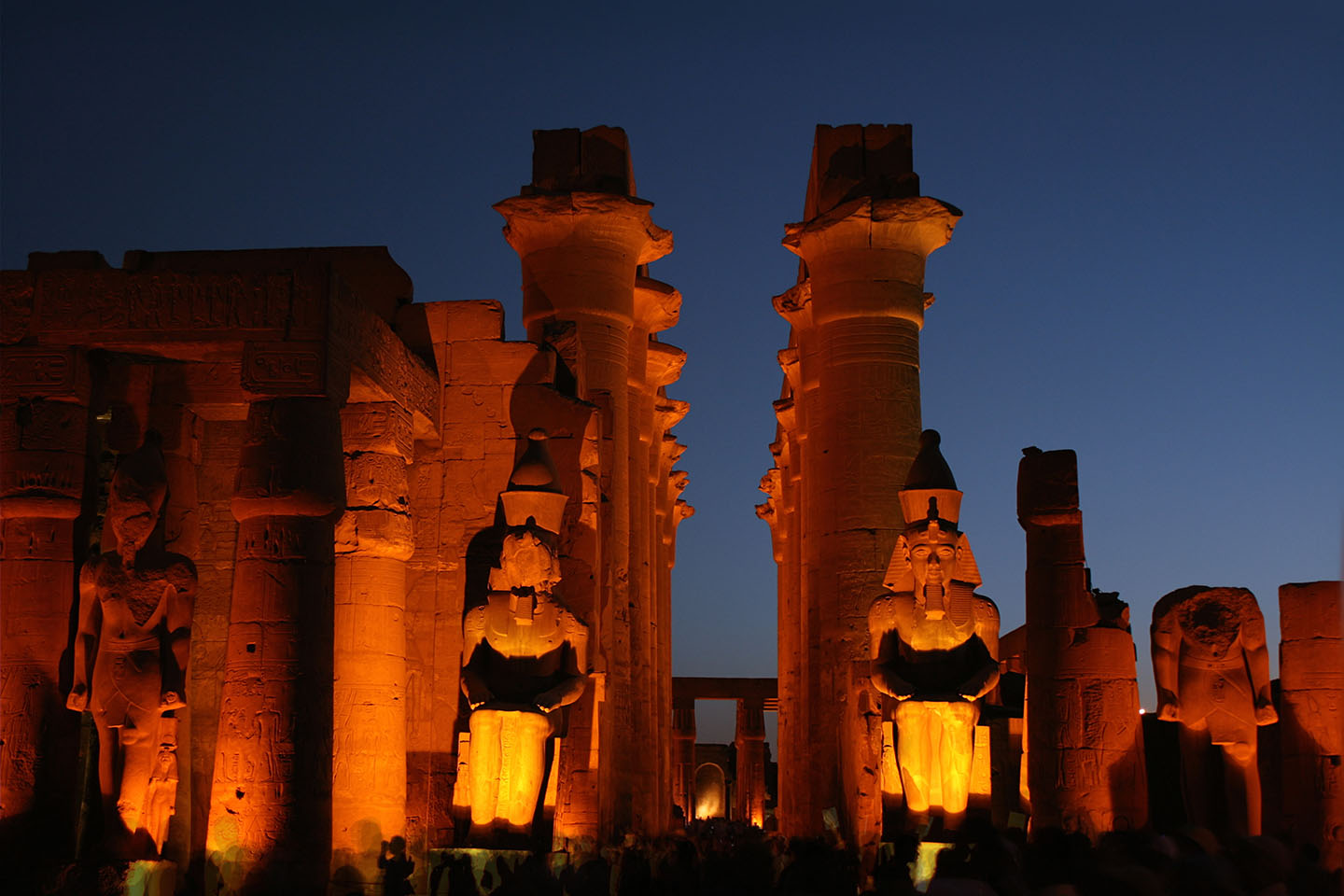 Luxor temple by night showing the central corridor and the four