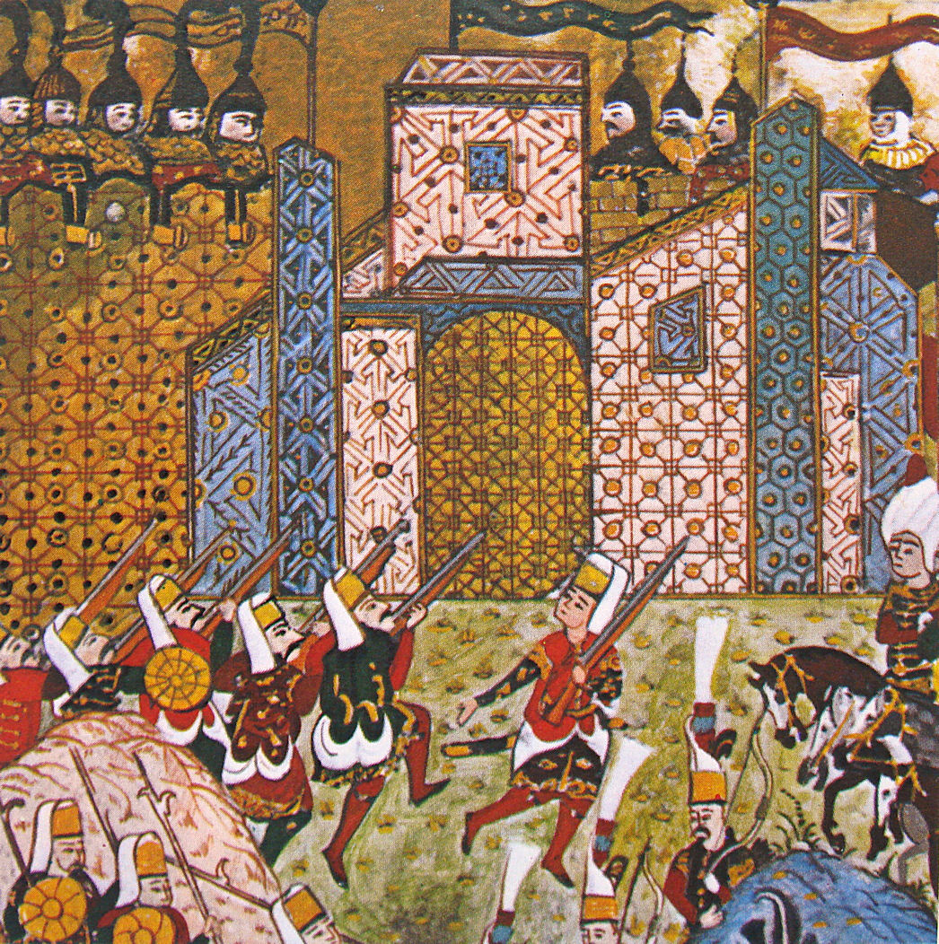 Gun-wielding Ottoman Janissaries and defending Knights of Saint John at the Siege of Rhodes, from an Ottoman manuscript.