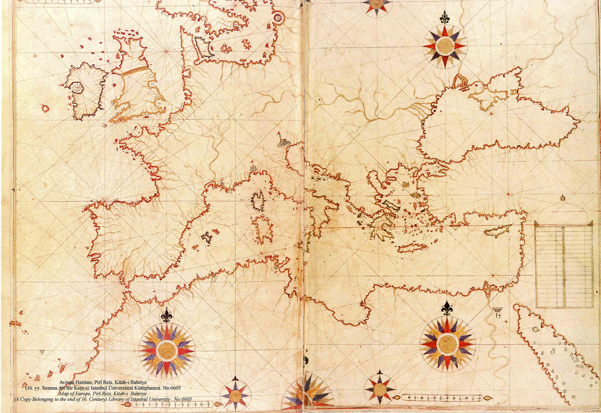Map of Europe, the Near East and North Africa in the Kitab-ı Bahriye (Book of Navigation) of Piri Reis.