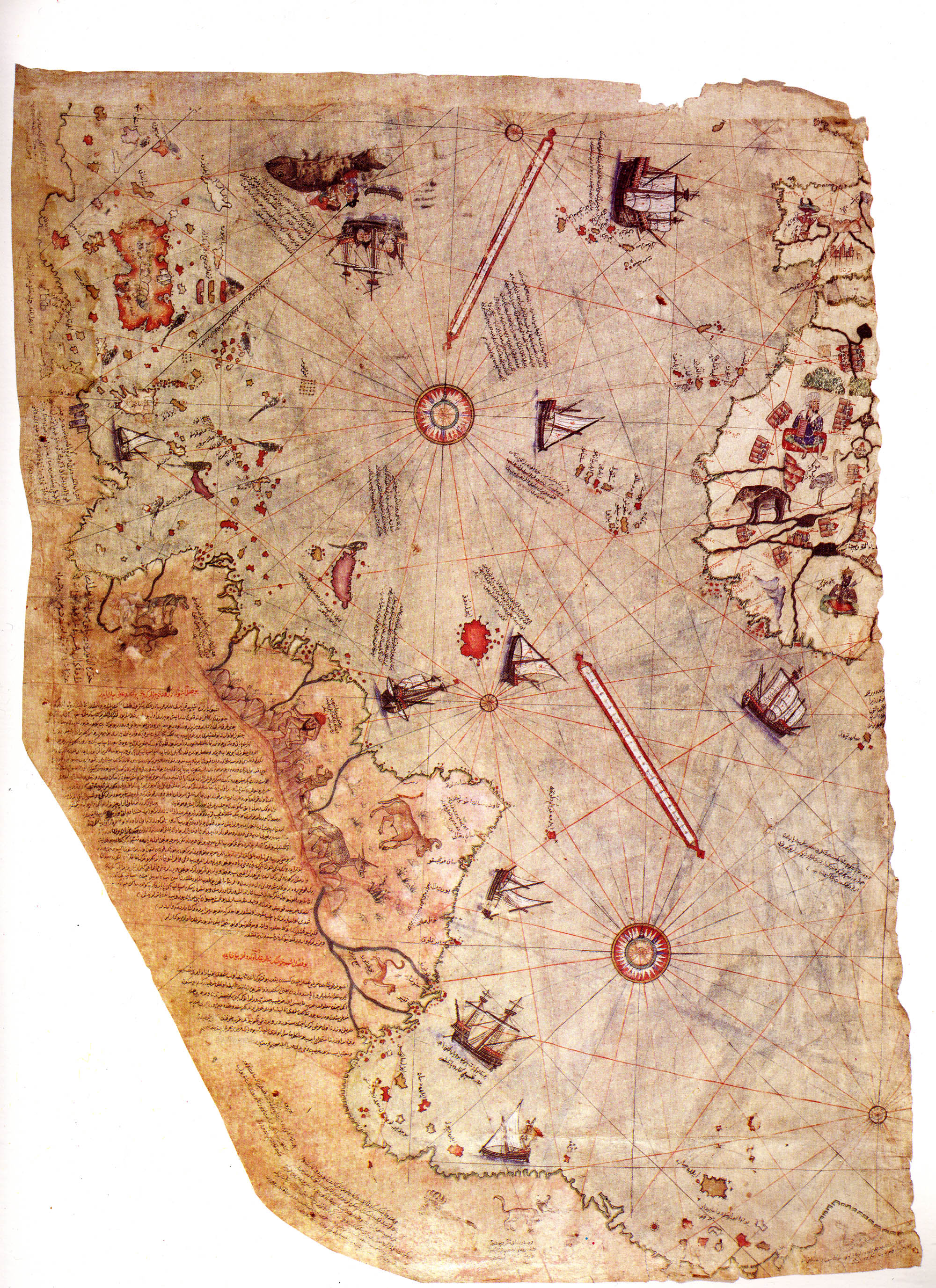 Surviving fragment of the first World Map of Ottoman Admiral Piri Reis drawn in 1513. Only half of the original map survives and is held at the Topkapi Museum in Istanbul.