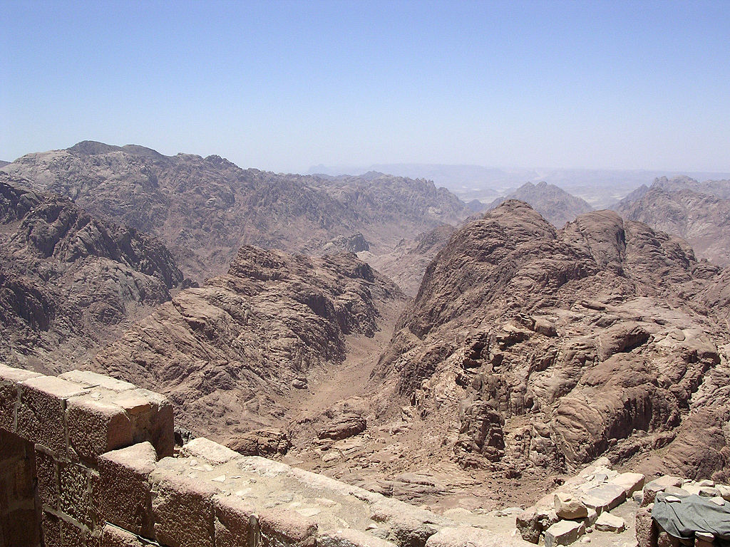 View from the summit of Mount Sinai. By Mark A. Wilson, Wikimedia Commons.