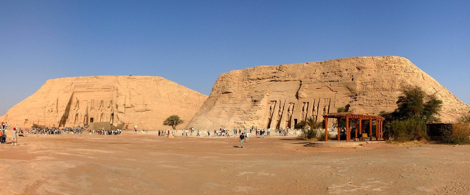 Abu Simbel - Great Temple of Ramesses II (left) and Small Temple of Nefertari (right)