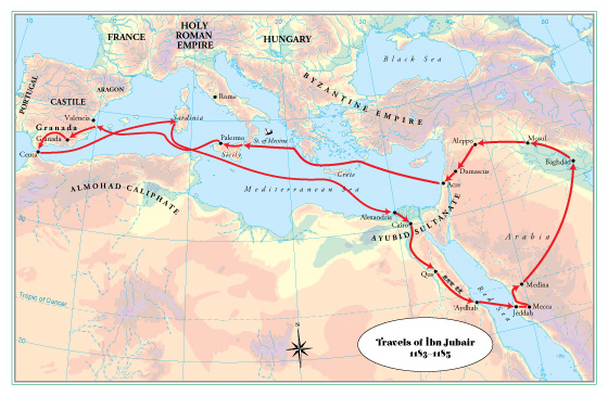 From Valencia and back again: Ibn Jubayr's first travels from 1183-1185CE. Adapted from the HISTORICAL ATLAS OF THE ISLAMIC WORLD with the route itself corrected as per Ibn Jubayr's own accounts.